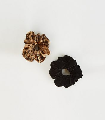 2 Pack Brown Snake Print Velvet Scrunchies