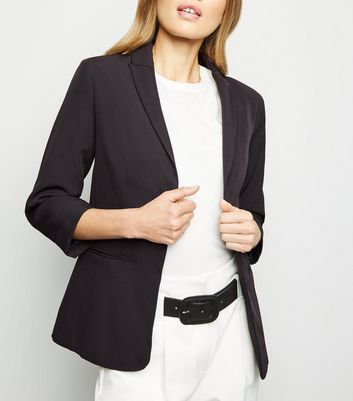 Black Open Crepe Blazer