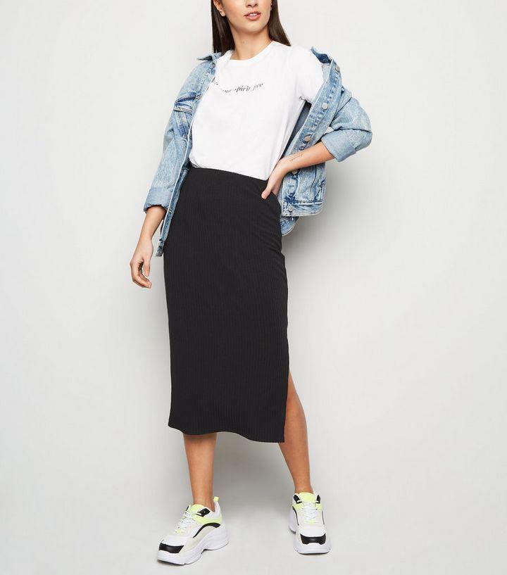 4aa2b7632 Black Ribbed Midi Pencil Skirt | New Look