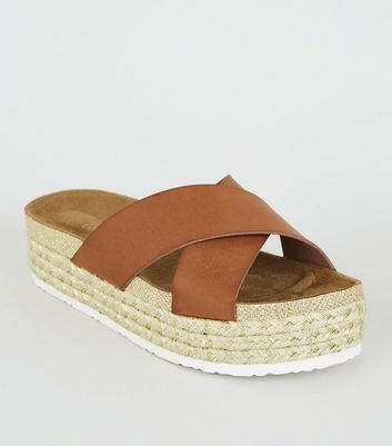 Tan Cross Strap Woven Glitter Footbed Sliders