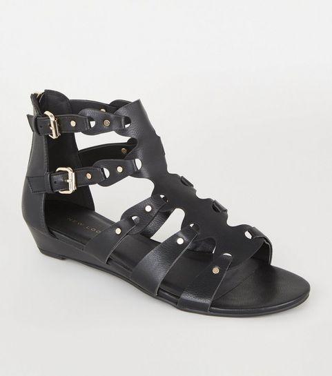 4c41073510 ... Black Leather-Look Studded Gladiator Sandals ...