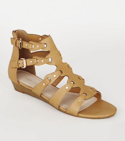6d5c08927e70 ... Tan Leather-Look Studded Gladiator Sandals ...