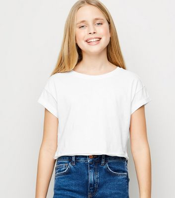 Girls White Short Sleeve Cotton T-Shirt