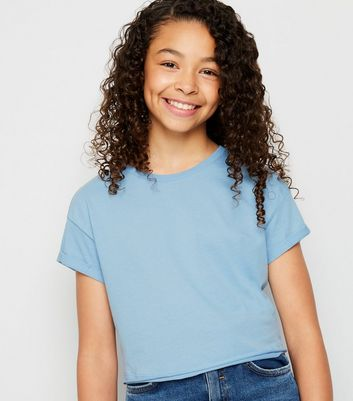 Girls Pale Blue Short Sleeve Cotton T-Shirt