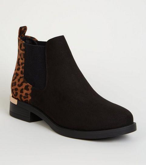 9d52ecea849c ... Wide Fit Black Leopard Print Metal Trim Chelsea Boots ...