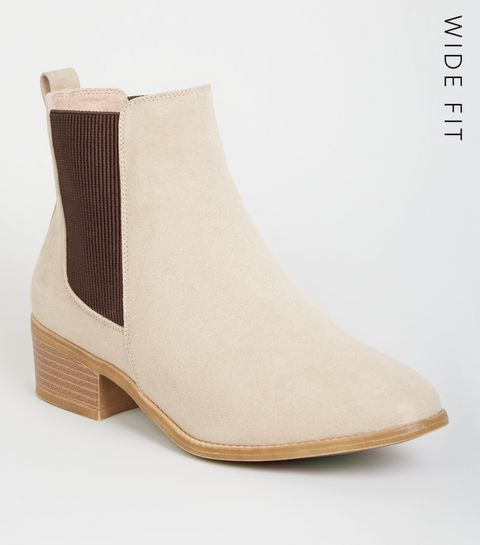 34cecdbfd9f ... Wide Fit Camel Suedette Chelsea Boots ...