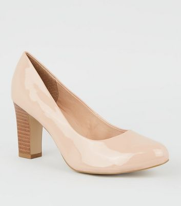 Wide Fit Nude Patent Block Heel Courts