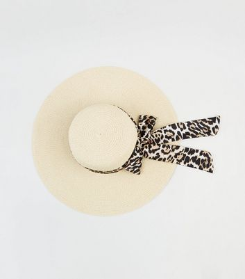 Cream Woven Straw Effect Leopard Print Band Floppy Hat