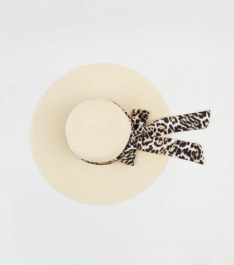 fdd32ed5070 ... Cream Straw Effect Leopard Print Band Floppy Hat ...