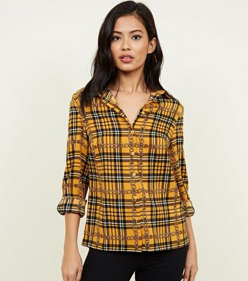 Cameo Rose Yellow Chain And Check Print Shirt