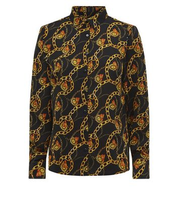 Cameo Rose Black and Gold Chain Print Shirt New Look