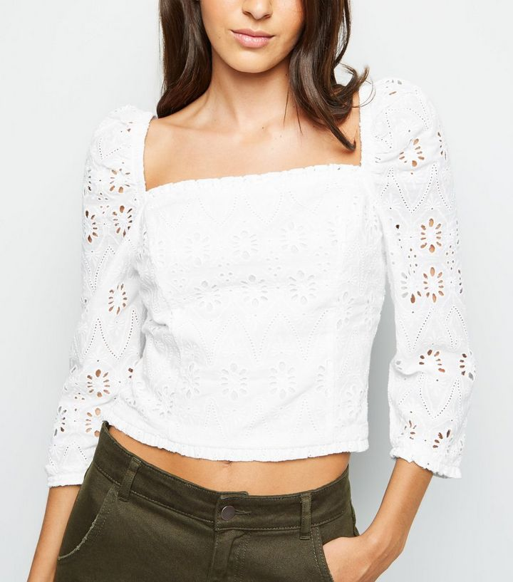 829d05d682c1b7 White Cut Out Embroidered Milkmaid Top