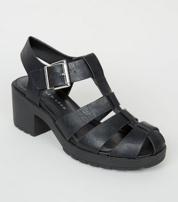 Black Leather-Look Chunky Caged Sandals