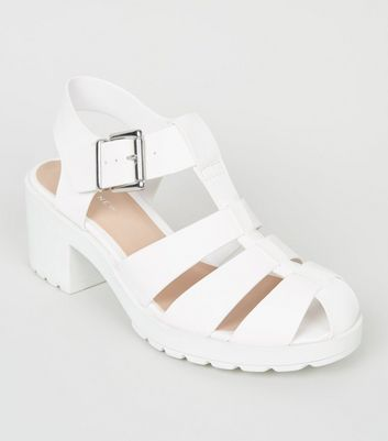 Girls White Leather-Look Chunky Caged Sandals