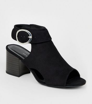 Girls Black Cut Out Peep Toe Slingbacks