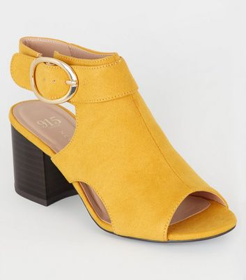 Girls Yellow Cut Out Peep Toe Slingbacks