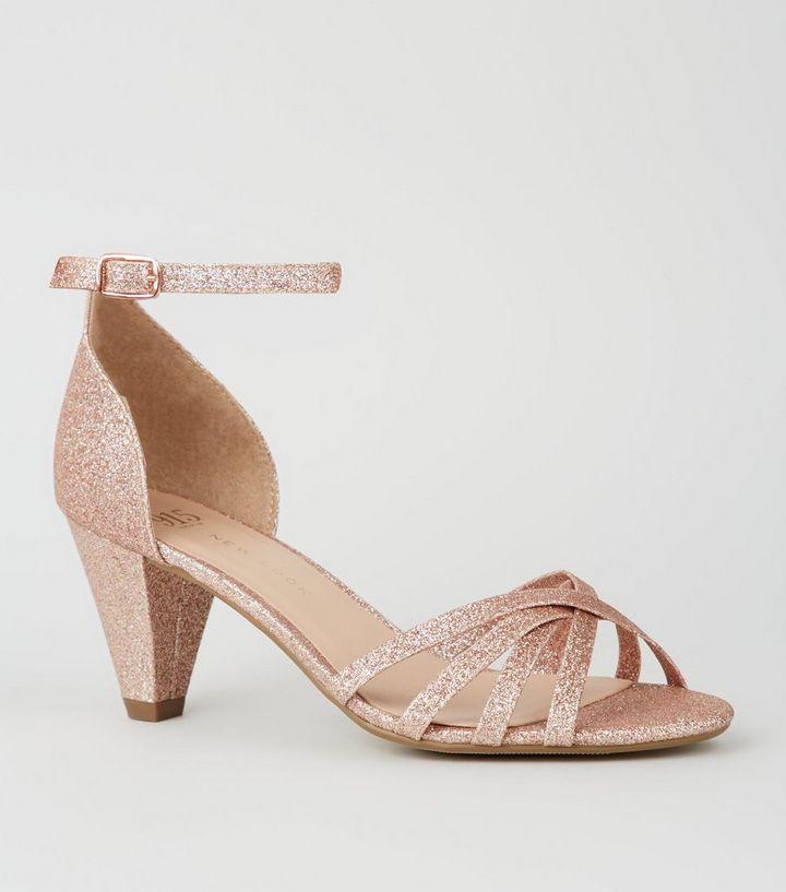 268d5f68cd54 Girls Rose Gold Glitter Cone Heel Sandals