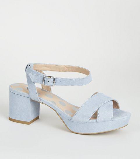 f7437e324545 ... Girls Pale Blue Spot Print Insole Platform Sandals ...