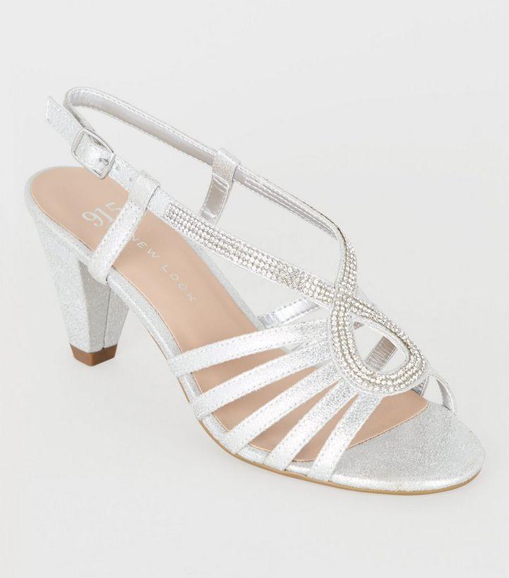 95caf5916 Girls Silver Diamanté Strappy Heel Sandals