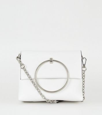 White Metal Ring Handle Shoulder Bag