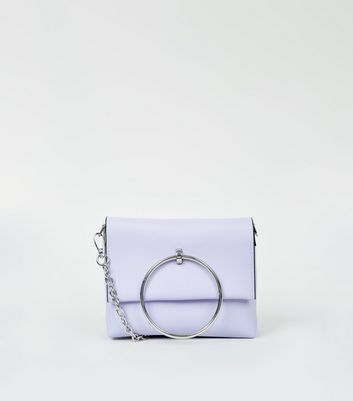Lilac Metal Ring Handle Shoulder Bag
