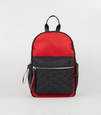 Red and Black Colour Block Mini Backpack