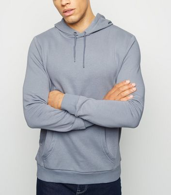 Pale Blue Pocket Front Long Sleeve Hoodie