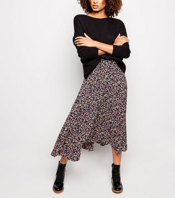 Black Ditsy Floral Pleated Midi Skirt