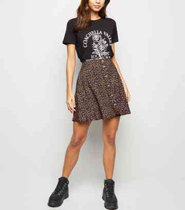 Black Ditsy Floral Button Up Mini Skirt