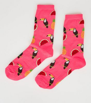 Bright Pink Toucan Watermelon Socks