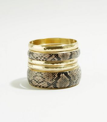 5 Pack Brown Snake Print Bangles