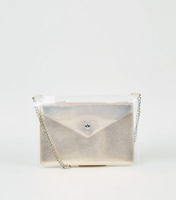 Rose Gold Clear Clutch Bag