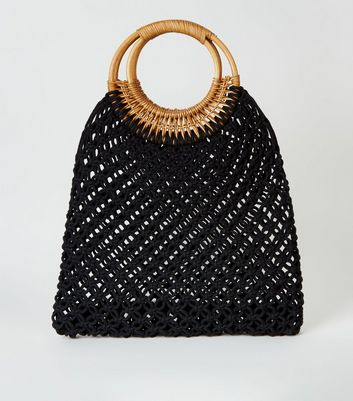 Black Macramé Ring Handle Tote Bag