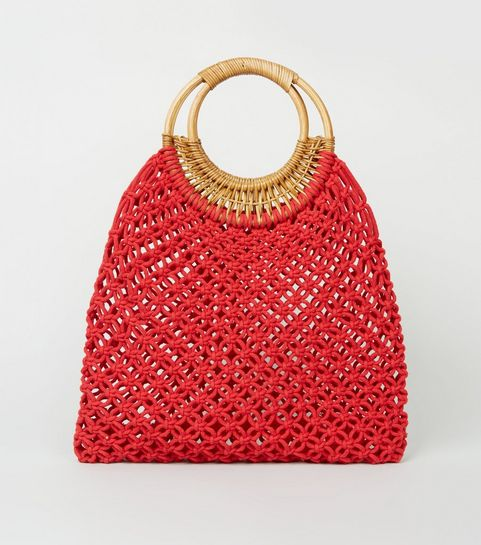 5f7d0c363b00 ... Red Macramé Ring Handle Tote Bag ...
