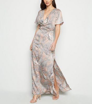 Blue Vanilla Pink Paisley Satin Maxi Dress