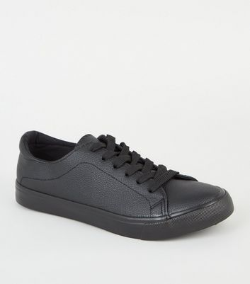Black Leather-Look Lace Up Trainers