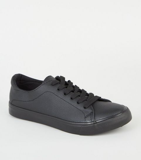 2ecca057e07 ... Black Leather-Look Lace Up Trainers ...