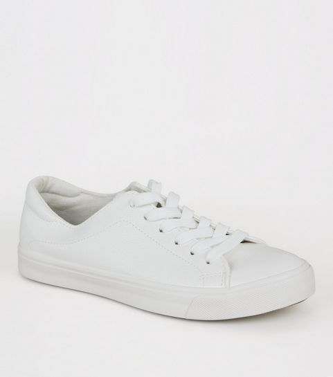 cedc84cd315 ... White Leather-Look Lace Up Trainers ...