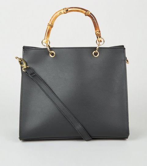 ... Black Bamboo Handle Tote Bag ... 660a66e06ecf8