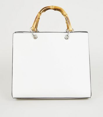 White Bamboo Handle Tote Bag
