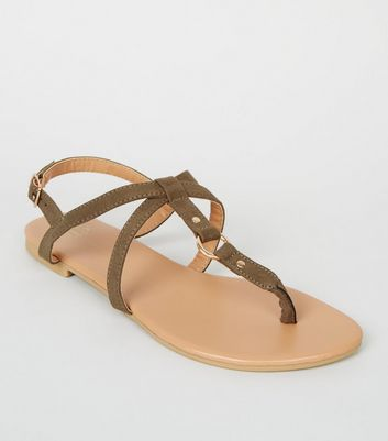Girls Khaki Ring Cross Strap Sandals