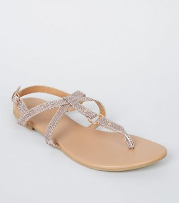 Girls Rose Gold Glitter Ring Cross Strap Sandals
