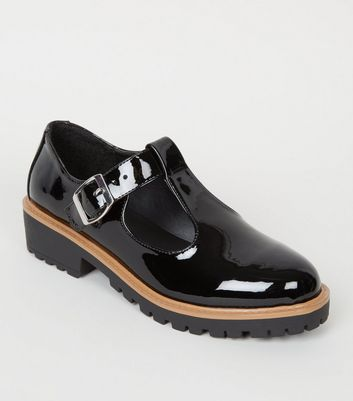 Girls Black Patent T-Bar Shoes