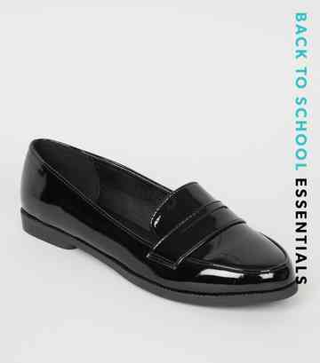 Girls Black Patent Cut Out Loafers