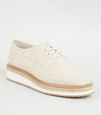 Off White Woven Lace Up Flatform Espadrilles
