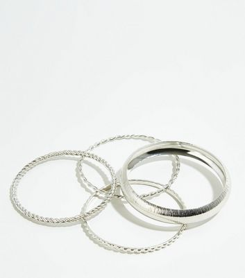 4 Pack Silver Textured Bangles
