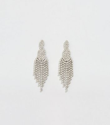 Silver Premium Diamanté Chandelier Earrings