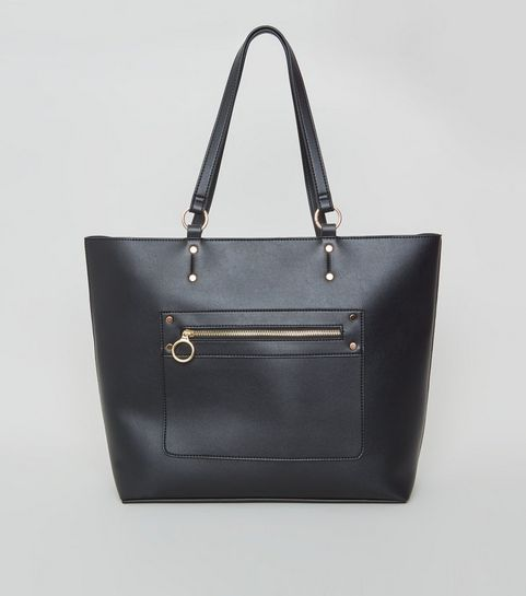 c8e77bcec8d7 ... Black Leather-Look Tote Bag ...