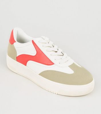 White Neon Panel Lace Up Flatform Trainers