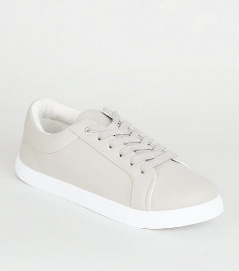 ... Grey Matte Lace Up Trainers ... b6f7c8582